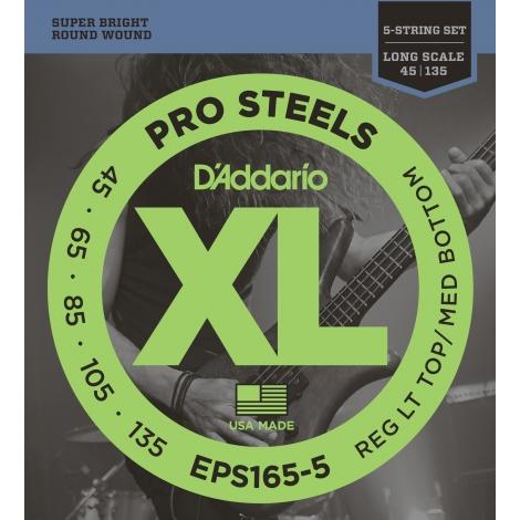 D'Addario EPS165-5 XL ProSteels Regular Light Top/Medium Bottom