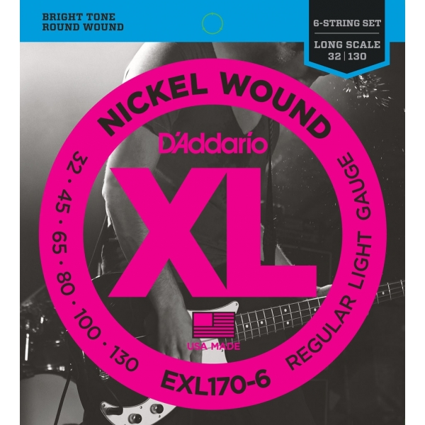 D'Addario EXL170-6 XL Nickel Regular Light