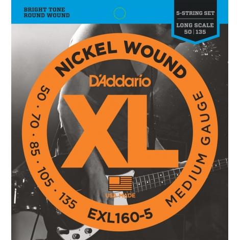D'Addario EXL160-5 XL Nickel Medium