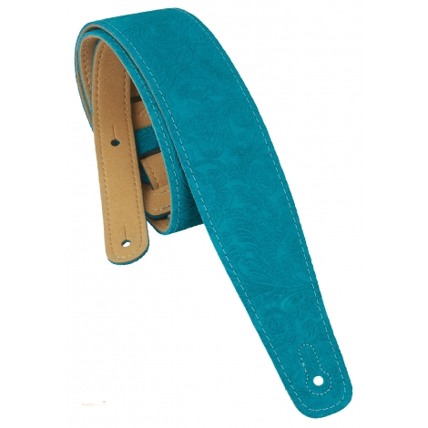 PERRI'S LEATHERS 7195 Decorated Suede Guitar Strap Floral Blue